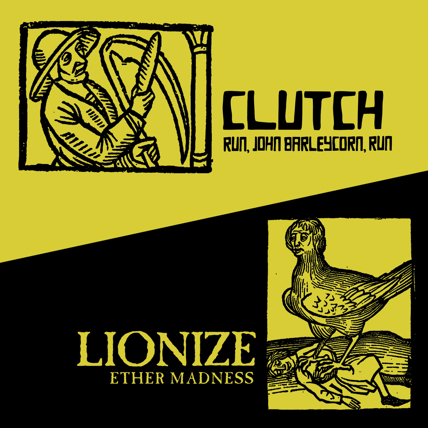 "CLUTCH/Lionize split 7"" single artwork"